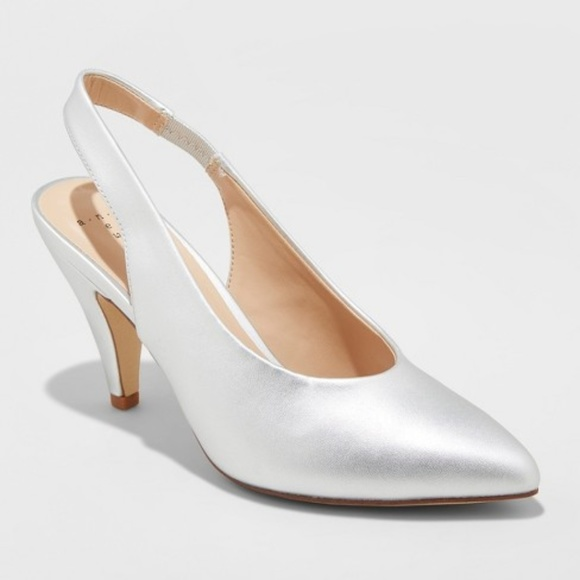 4e6cd96009 a new day Shoes | Nettie Sling Back High Vamp Heels Metallic Silver ...